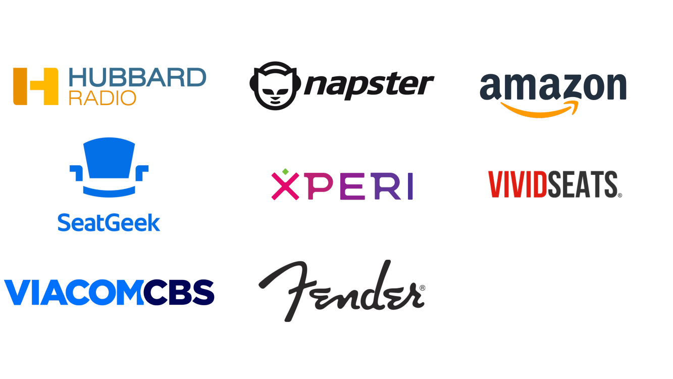 references for USA Amazon, Fender, Hubbard Radio, Napster, SeatGeek, Viacom CBS, Vivid Seats, Xperi